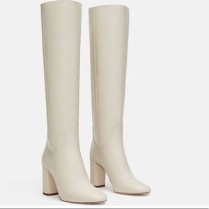 Zara White Leather Knee Boots